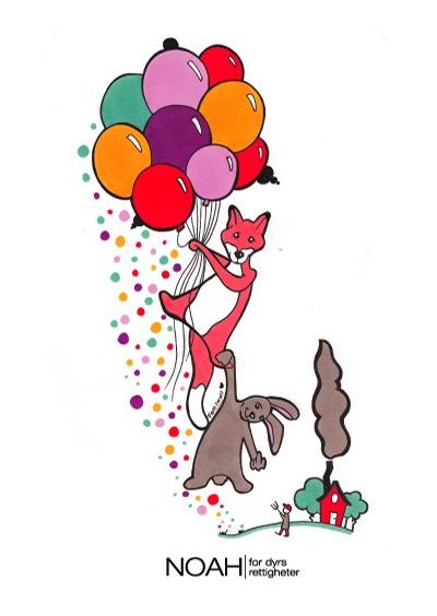 Tegning av en rev og en kanin som flyr avgårde med ballonger.