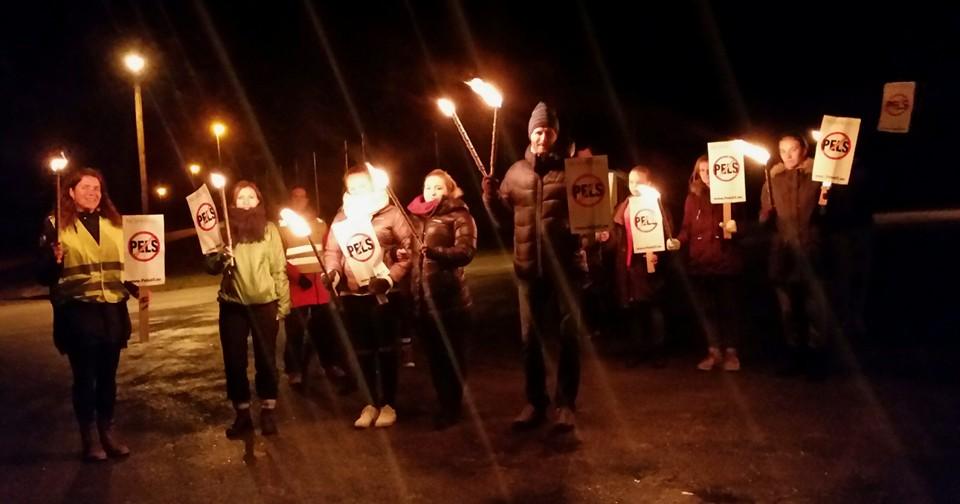 Støttemarkering i Lampeland. Foto: Anne Hatland.