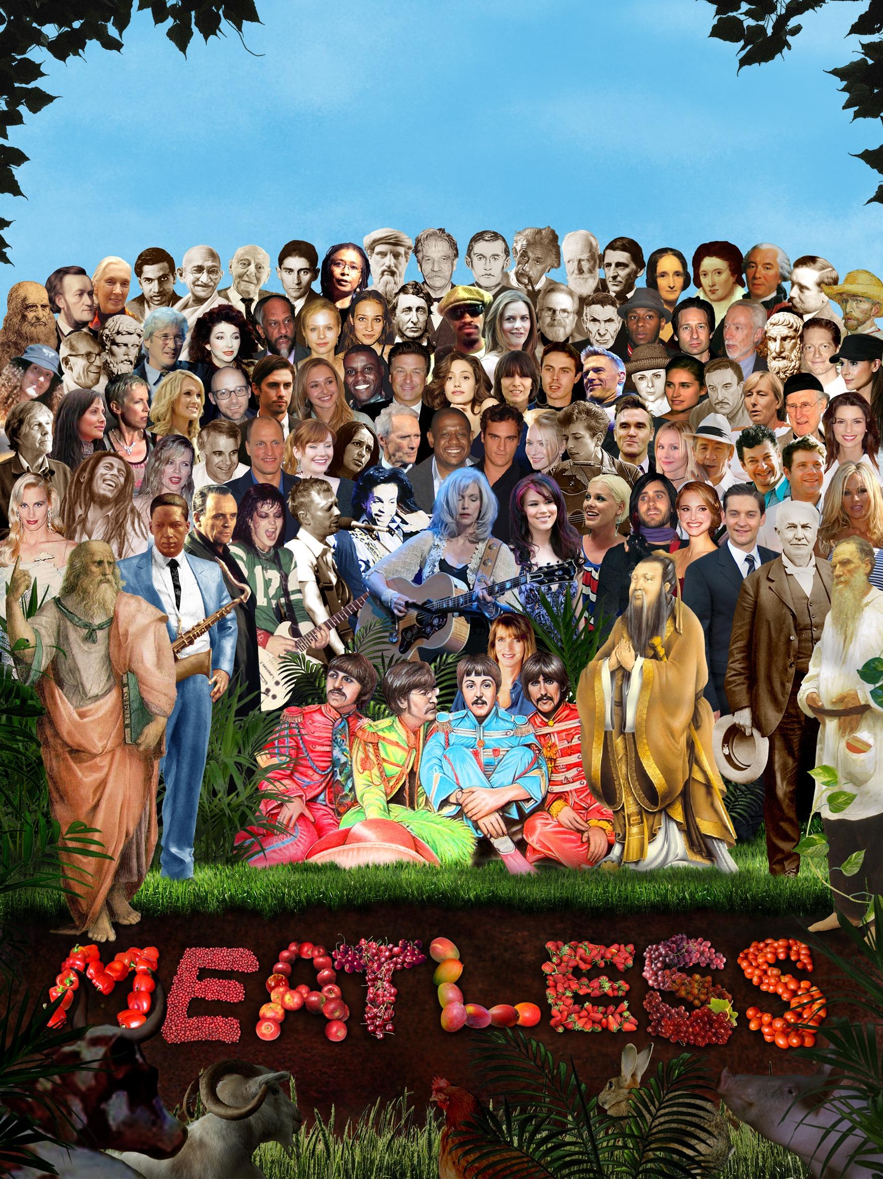 Plakat med mange kjente vegetarianere og veganere