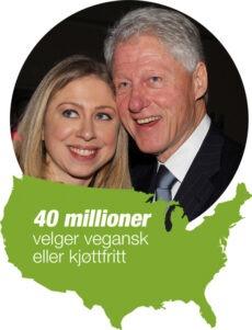 USA: Tidligere president i USA, Bill Clinton og hans datter Chelsea er veganere og føyer seg inn i en lang rekke verdenskjente amerikanere med samme standounkt. I USA spiser 13% kjøttfritt per 2013 - 6 % er lato-ovo-vegetarianere og 7 % er veganere. Et ytterligere stort antall ønsker å kutte kjøttet.