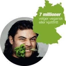 Tyskland: Veganeren Patrik Baboumian er Tysklands sterkeste mann og veerdensrekordholder i løfting av stokk. Han er en del av den voksende trenden i Tyskland om at det er både tøft og moderne å ta hensyn til dyrene - 9 % av tyskere velger vegetarisk (antall veganere i forhold til lakto-ovo-vegetarianere er ikke målt).